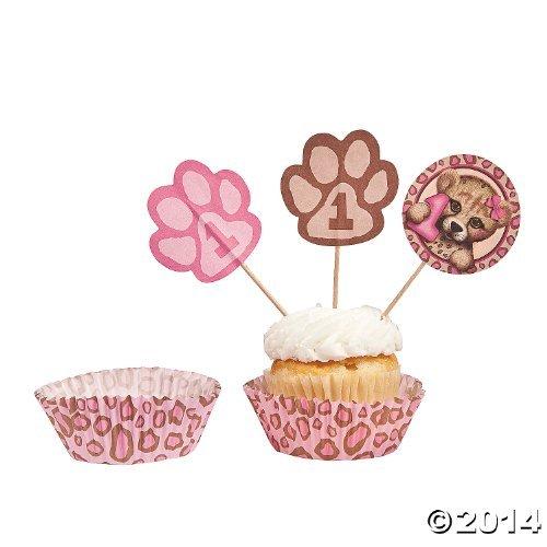 Paper 1st Birthday Cheetah Cupcake Liners with Picks]()