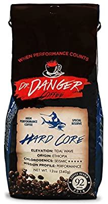 DrDanger Coffee Hard Core Coffee Ideal for Training, Fitness & Competition-Scientifically Selected & Roasted Special Reserve Whole Bean, 12 oz