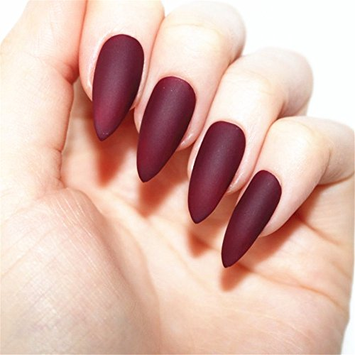 BloomingBoom 24 Pcs 12 Size Stiletto Pointed False Nail Matte Full Cover Fake Nail Press on Salon Pre Design Women Claw Mountain Peak Mist Amaranth Purple Wine Red Brown]()