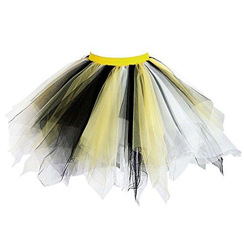 MsJune Women's 1950s Vintage Petticoats Crinolines Bubble Tutu Dance Half Slip Skirt (S/M, Yellow&White&Black) ()