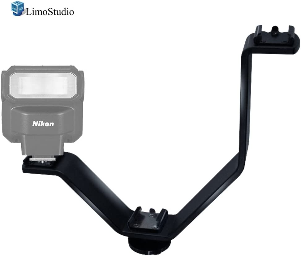 AGG2309 Monitor Camera Accessories Photo Studio LimoStudio Triple Mount Cold Shoe V Mounting Bracket for Video Lights Microphone