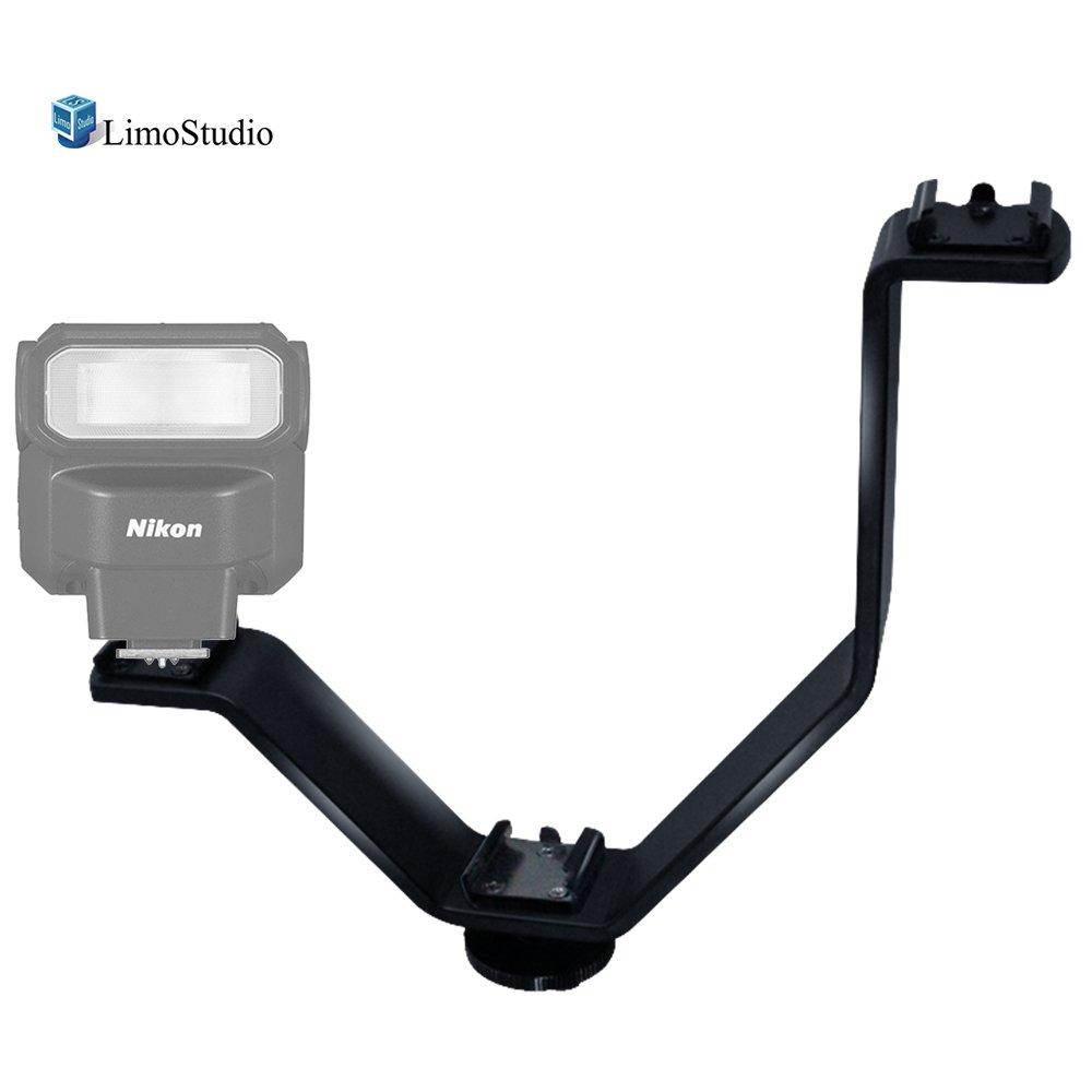 LimoStudio Camera Bracket Mount Heavy Duty Photography Video L-bracket with Standard Flash Shoe Mounts, AGG1179