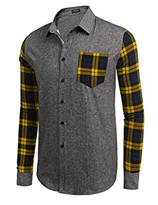 Coofandy Men's Casual Western Cotton Brushed Fleece Long Sleeve Plaid Button Down Shirt