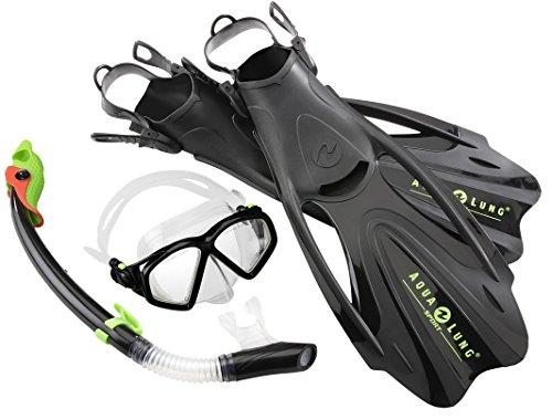 Aqua Lung Sport La Costa Black Deluxe 3er Set (Tauchmaske, Schnorchel & Flossen) inkl. Rucksack - 44-48