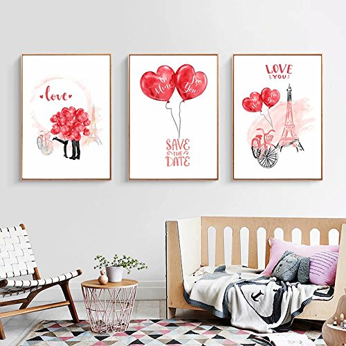 Gift 28 Piece Towers Pack - New DIY Full Diamond Cross Stitch Painting 3 Pieces Love You Cartoon Heart Balloon Tower triptych Diamond Pasted Embroidered Kits Rhinestone Mosaic Embroidery Art Modern Home Decor, No Frame