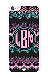 iZERCASE Monogram Personalized Pink Purple Turquoise Chevron Pattern with Flowers iPhone 5C Case - Fits iPhone 5C T-Mobile, AT&T, Sprint, Verizon and International (White)
