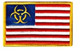 Zombie States of America Red White Blue Embroidered Patch Iron-On Biohazard Flag