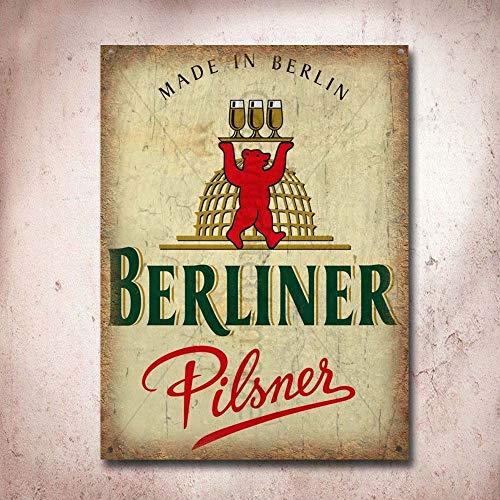 (Berliner Pilsener Lager Beer Vintage Tin Sign Metal Sign TIN Sign 7.8X11.8 INCH)