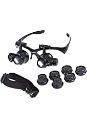 Beileshi® Glsses Magnifier 10x 15x 20x 25x LED Illumination Double Eyes Jewelry Magnifying Loupe Eyeglass Repair Tools for Miniature Engraving
