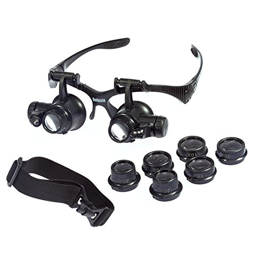 20 X Magnifier (Beileshi® Glsses Magnifier 10x 15x 20x 25x LED Illumination Double Eyes Jewelry Magnifying Loupe Eyeglass Repair Tools for Miniature)
