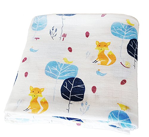 Bamboo Muslin Swaddle Blanket Soft XL | 47 x 47 inch | 70% Bamboo 30% Cotton | Infants, Toddlers, Boys, Girls | Fox Print 1-Pack by Monbebe