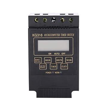 Akozon Temporizador Programable Digital, 1pc Negro Microordenador Time Switch LCD Pantalla Digital 10 On y 10 Off Temporizador(220V): Amazon.es: Bricolaje y ...