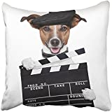 Throw Pillow Cover 18X18 Inch Polyester White Video Movie Clapper Board Director Dog Funny Animal Pet Film Hollywood Star Cinema Decorative Pillowcase Two Sides Square Print For Home
