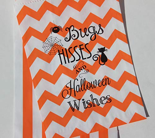 Bakers Bling Halloween Treat Bags with Stickers, Bugs Hisses and Halloween Wishes Orange Chevron and Striped Favor Bags, 5.5 x 7.5, Set of 48