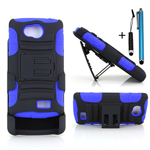 Cellular360 Shock & Drop Proof Hybrid Armor Protective Case & Holster Combo for LG Optimus F60 (MetroPCS) / LG Tribute LS660 (Sprint, Virgin Mobile, Boost Mobile) / LG Transpyre (Verizon) - Landscape Viewing Dual Layer Kickstand Case and a Belt Clip W/ 1 Headphone Jack Stylus and 1 Regular Stylus (Black and Blue) (Lg Optimus Sprint Case compare prices)