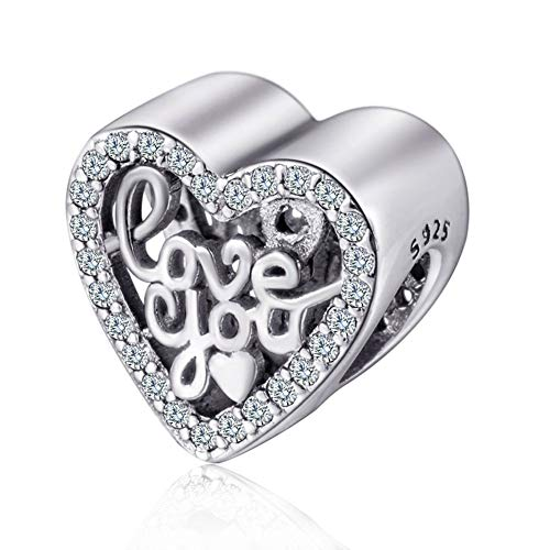 I Love You Charm Heart Love Beads Heart Shape Charm 925 Sterling Silver Charm Fit Woman European Bracelet (1# I Love ()