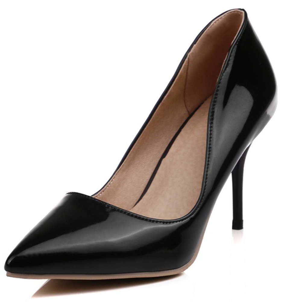 SFNLD Women's Chic Pointed Toe Low Cut Slip On Stiletto High Heels Pumps Shoes Black 8 B(M) US