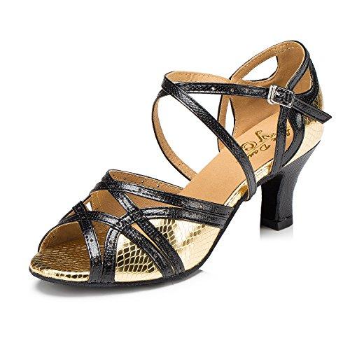 Black Stylish Sandals Womens Professional Leather Gold CRC Tango Wedding Dance Ballroom Toe Snakeskin Party Morden Open PU 1SwZwq5