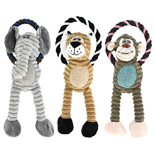 RIO Direct Small Dog Toys, Squeak Dog Toys, 3 Pack Dog Plush Toys, Dog Chew Toys, Interactive, Chewing and Durable Dog…