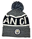 Icon Sports Manchester City Pom Foldover Beanie (One Size, Heathered Blue)