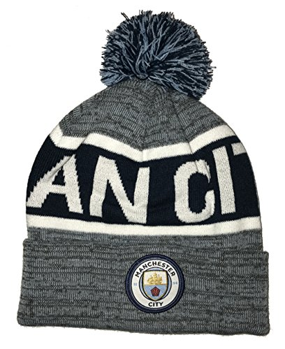 Icon Sports Manchester City Pom Foldover Beanie (One Size, Heathered Blue) - City Badge