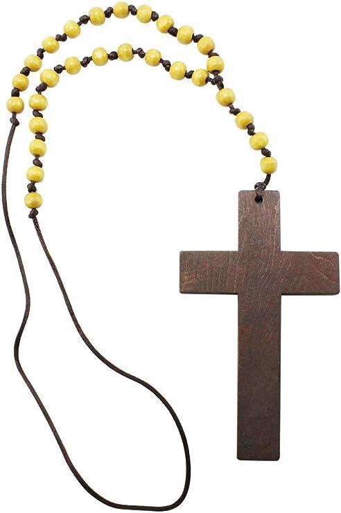 com-four® Collar con Colgante de Cruz - Cadena de Bolas con Cruz ...