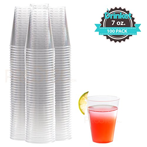 7 oz Clear Plastic Cups | Small Disposable Cups | Old Fashioned Tumblers | 100 Pack | Beverage Party Cups | Hard Plastic Drinking Cups | Ideal for Wine, Cocktails (7 Ounce Stackable Cup)