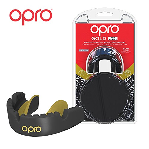 OPRO Gold Level Mouthguard for Braces for Ball, Combat and Stick Sports - 18 Month Dental Warranty (for Ages 7+) | Black/Gold