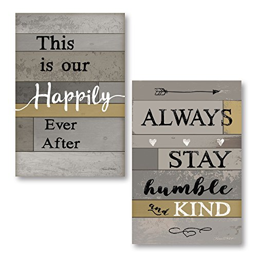 Gango Home Décor Contemporary Happily Ever After & Always Stay Humble and Kind by Karen Tribett (Printed on Paper); Two 12x18in Unframed Paper Posters