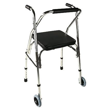 Andador para ancianos con 2 ruedas | Asiento acolchado, plegable y regulable en altura |