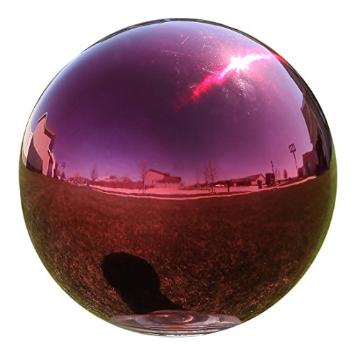 Lily's Home Stainless Steel Gazing Globe Mirror Ball, Colorful and Shiny Addition to Any Garden or Home, Ideal As a Housewarming Gift, Sparking Red (12