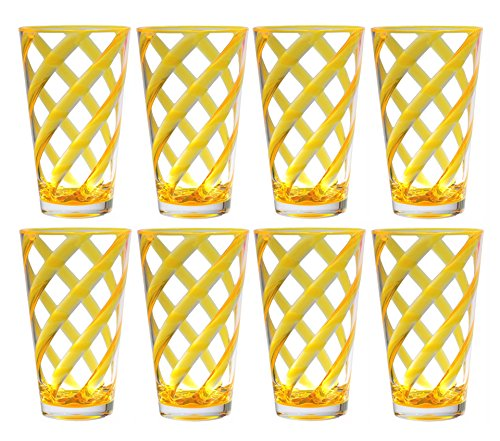 QG 8 pc 22 oz Twist Neon Yellow Acrylic Ice Tea Cup with Clear Heavy Base Plastic Tumbler (Heavy Base Ice Tea)