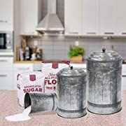 Coastal Space Designs IR 23257-VC Antique Style Galvanized Metal Lidded Rustic Canister, Set of Three Farmhouse Home Decor Accents, Gray