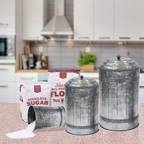 Antique Style Galvanized Metal Lidded Rustic Canister, Set of Three Farmhouse Home Decor Accents