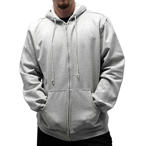 Big And Tall Drawstring Sweatshirt - Cotton Tradders L/S Full Zipper Fleece Drawstring Hoodie - Big and Tall 6400-452BT (GreyHt, 2XLT)