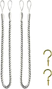 Home Queen Set of 2 Rope Tie Backs for Window Curtain with 2 Hooks, Hand Knitting Buckle Cord Drapery Holdbacks, Silver White