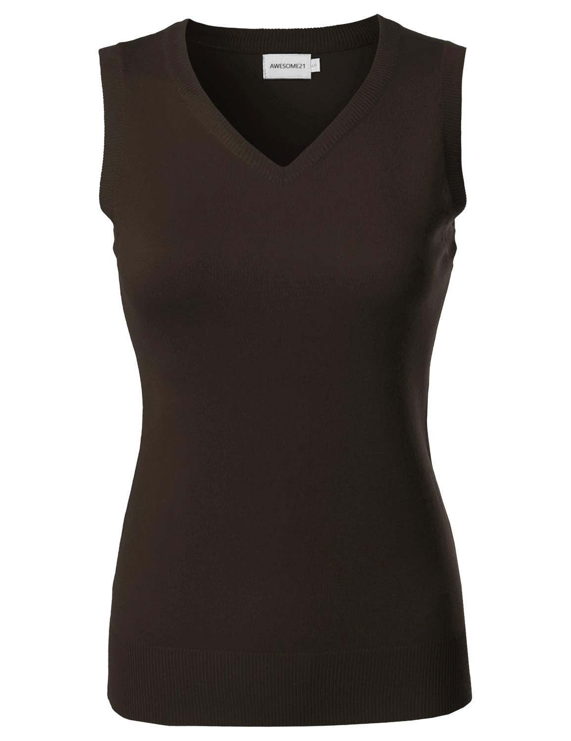 Awesome21 Solid Office Look Soft Stretch Sleeveless Viscose Knit Vest Top Brown S
