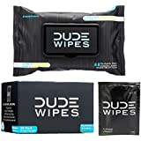 Dude Wipes Flushable & Biodegradable Wipes with Aloe Vera, Singles for Travel (30 Individual Wipes) & Dispenser Pack (48 Count)