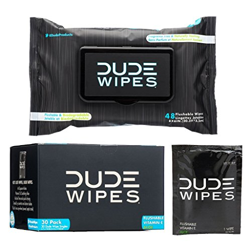 DUDE Wipes Flushable Singles for Travel