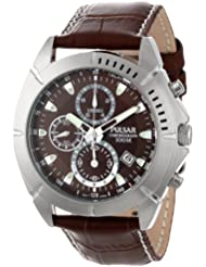 Pulsar Mens PF8303 Stainless Steel Sport Watch with Leather Band