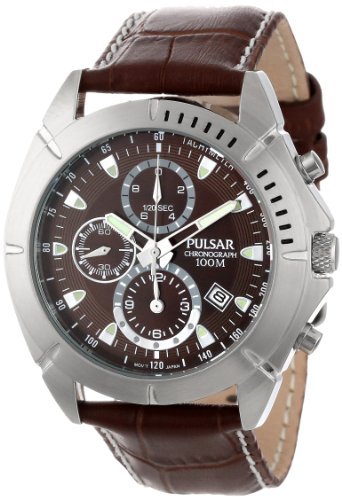 (Pulsar Men's PF8303 Stainless Steel Sport Watch with Leather Band)