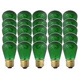 Green S14-11w Bulb - Patio string light replacement Bulb - 25 Bulbs