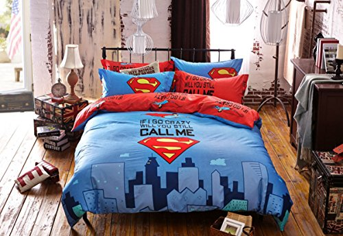 - Fashion Sweet Home Chidren's Bedroom Active Cute Coverlets Bedding Collections of 4 Pieces Superman Blue 200230cm ,King Size