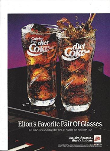 MAGAZINE AD For 1992 Coca Cola: Elton's Favorite Glasses Elton John - John Elton Sale For Glasses