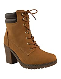 Fashion Thirsty Womens Chunky High Heel Combat Army Lace Up Biker Ankle Boots Size