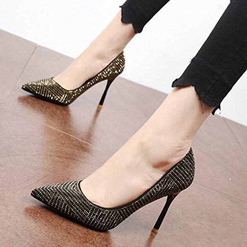 FLYRCX Primavera y otoño europeo de mujeres zapato única personalidad lentejuelas de oro y parte superficial tacones altos Black