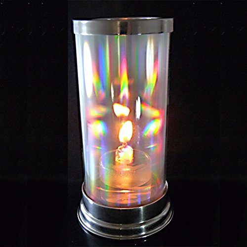 Firefly Crystal Prism Lantern with 2-oz. Refillable Glass Votive Candle - Hurricane Candle Replacement