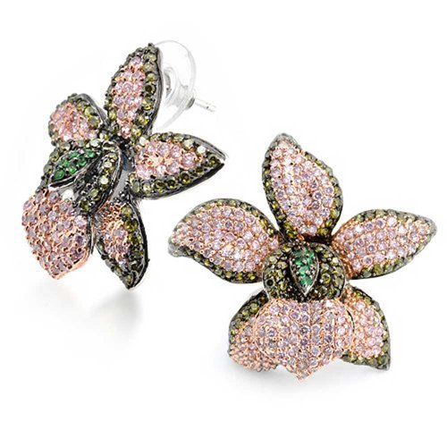 Orchid Flower Stud Earrings Green Pink Pave CZ Rhodium Plated Brass 13mm