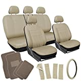 OxGord 21pc Tan Flat Cloth Seat Cover and Carpet Floor Mat Set for the Ford Escort Coupe, Airbag Compatible, Split Bench, Steering Wheel Cover Included