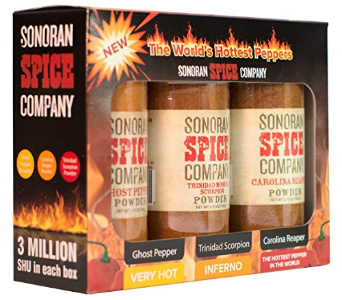 Sonoran Spice Carolina Reaper, Trinidad Scorpion, Ghost Pepper 3.75 Oz Powder Gift Box
